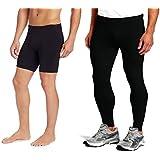Bloomun Fitness Mens Tight, Compression, Cycling Tight, Gym Tight, Jogging Tights & Skin Tights Non-Padded Half Shorts Combo Pack - Plain Black