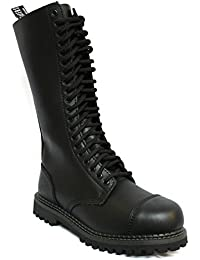 3a15788251 Unisex Real Leather Military Boots Black Ginders King Punk Rock Safety  Steel Toe