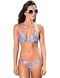 Maillot de bain femme sexy bikini violet bleu taupe - Divino - trois pièces : (tanga + string + top)