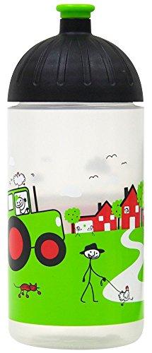 ISYbe Original Marken-Trink-Flasche für Klein-Kinder, 500 ml, BPA-frei, Landleben-Motiv für Mädchen & Jungen, für Schule-Reisen-Kita-Kiga-Outdoor, Auslaufsicher auch mit Sprudel, Spülmaschine-fest -