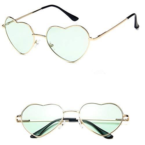 YOURSN Sonnenbrille Frauen Modedesigner Brille Liebe Herz Stil Vintage Sommer Retro Sonnenbrille Shades-Green