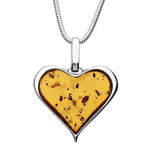InCollections Damen-Halskette Herz 925 Sterling Silber 1 Bernstein gelb 42 cm 0011204010780