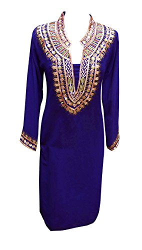 Blu indiano tunica per donne kurti con filo lavoro Tuniche Kurta Kaftano da donna top London in taglia M, L, XL, XXL, XXXL UK 6090 Blue XXL
