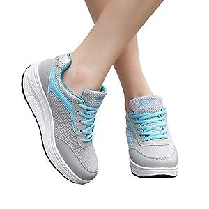 ◑‿◑ JUSTSELL Sportschuhe für Damen,Frauen Mode-Design Sneaker Schnürhalbschuhe Schuhe Plateau Keilabsatz Rocking Schuhe Turnschuhe Leicht Atmungsaktiv Sportschuhe
