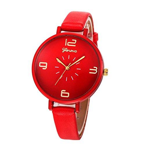 Damen Uhren,Beikoard Frauen 2018 Casual Checkers Faux Leder Quarz Analoge Armbanduhren (Rot)