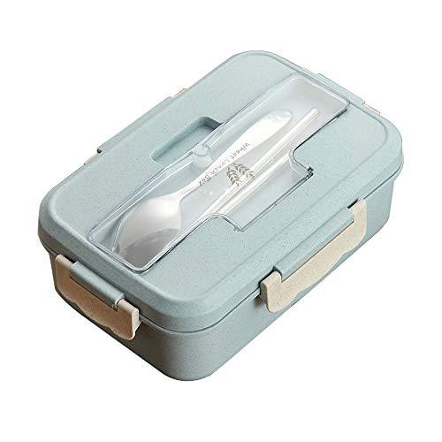 Souarts Lunchbox Brotzeitbox Mahlzeit Behälter Tragbare Lebensmittelbehälter Mikrowellen Mittagessenbehälter mit Deckel Essstäbchen Löffel