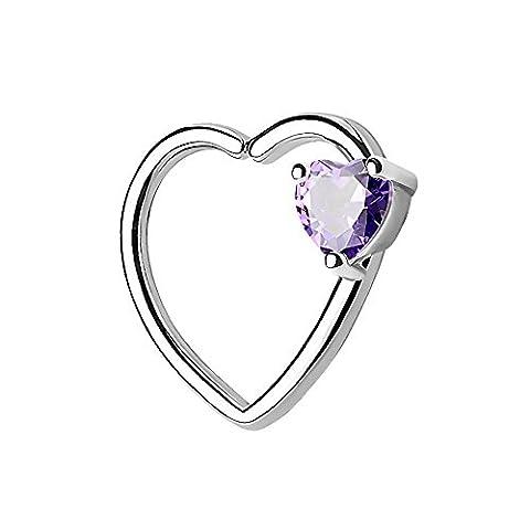Piercingfaktor® Continuous Piercing Ring Herz mit Kristall Stein für Tragus Helix Ohr Cartilage Knorpel Ohrpiercing Silber Tanzanite