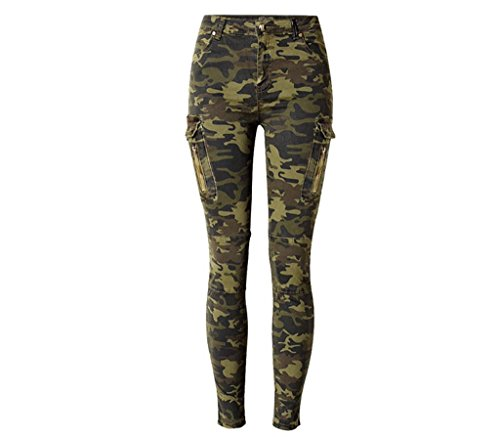 Byjia Femmes Jeans Haute Taille Elasticité Camouflage Jogging Side Pocket Zipper Pilot Casual Pantalons Pantalon picture color