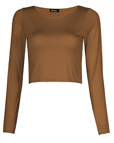 Maglietta stile crop top da donna, a maniche lunghe e a tinta unita Caffè