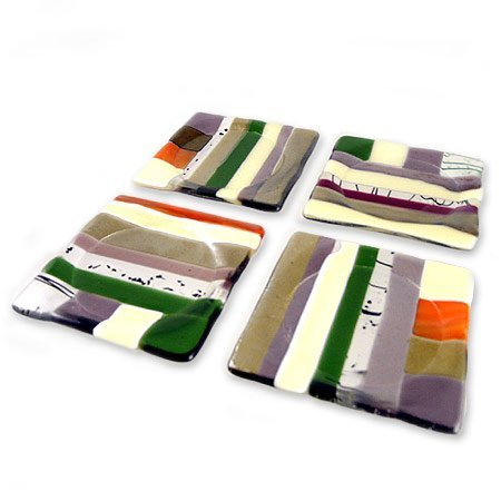 Earthtone-set (Contemporary Earth-Tone Fused Glass Coasters with Moisture Cavity, Set of 4 by Kathy Hudson Glass)