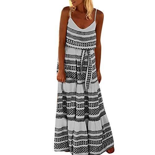 MAYOGO Kleid Damen Sommer Bodenlang Große Größen Boho Gestreift Spagettiträger Maxikleid Rückenfrei Sexy Urlaub Casual Sommerkleid -
