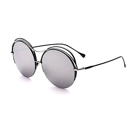 Yiph-Sunglass Sonnenbrillen Mode Anmutige Runde Metall umrandeten Sonnenbrillen für Frauen Männer UV-Schutz für Outdoor Driving Ferien Sommer Strand (Farbe : Silber)