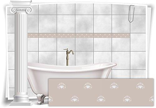 Fliesenaufkleber Bordüre Fliesen Aufkleber Vintage Nostalgie Retro Bad WC Küche, 16 Stück, 20x5,2cm (BxH)