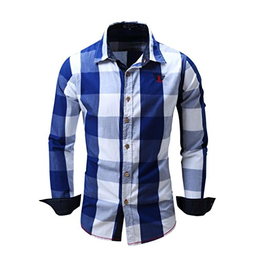 VEMOW Herbst Winter Frühling Herren Karo Hemd Langarm Nicht-Eisen Business Casual Tagesbluse Bluse Formal Ocasion Baumwolle Slim Fit Plaid Top(Blau, EU-56/CN-2XL) -