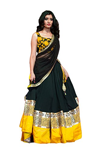 Clickedia Women\'s Faux Georgette Black Yellow Lehenga With Blouse
