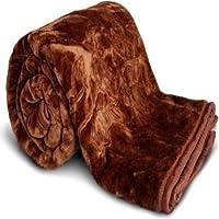 Cobija Ultra Soft Luxurious Embossed Very Warm Korean Mink AC Blanket Double Bed for Winter - Brown (220 X 240 cm…