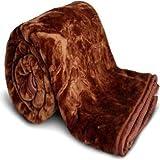 Cobija Ultra Soft Luxurious Embossed Very Warm Korean Mink Blanket Double Bed for Winter - Brown (220 X 240 cm) (Single, Brown)