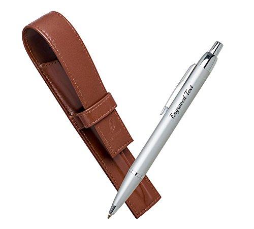 Personalisierte Geschenkartikel Parker Kugelschreiber IM - Silber CT + Leather Pouch Hellbraun (Leder Schieren)