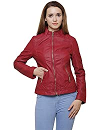 MansiCollections Maroon Leatherite Jacket for Women