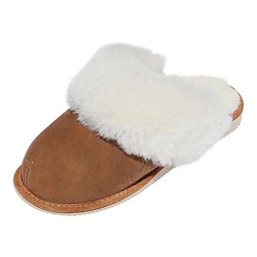 Peau de mouton Chaussons - NEW ZEALAND Pantoufles Pour Dames pantoufles Marron