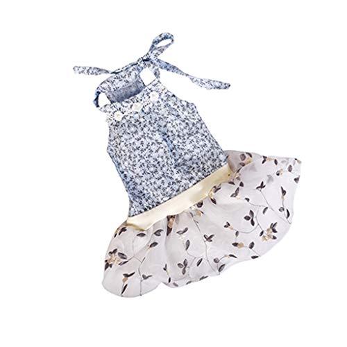 Balock Schuhe Haustier Kleid - Sommer Haustier Rock Dünne Spitze Prinzessin Kleid - Hund Katze Kleid Plaid Flower Floral Kleid - Leicht & Atmungsaktiv - für Schnauzer,Teddy,Pudel,Chihuahua (Blau, XS) (Kostüm Für Mini Schnauzer)