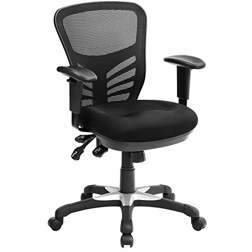Songmics poltrona girevole da ufficio, sedia ergonomica in rete, traspirante, con supporto lombare, braccioli e schienale regolabili, obn52bk