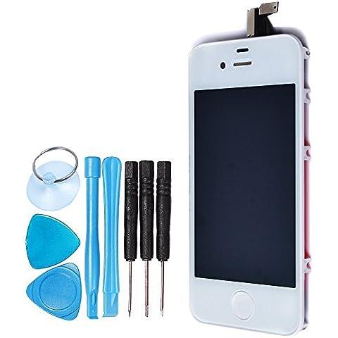 LL TRADER Display Assembly per iPhone 4 Bianco LCD Touch Screen Digitizer Parti di Ricambio (Con Home Pulsante, Sensore Flex)