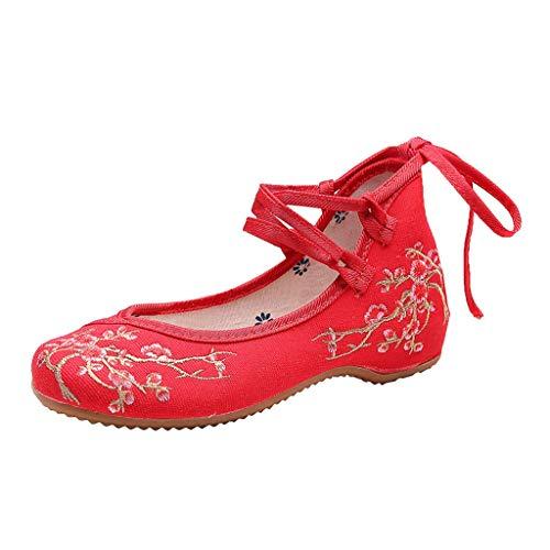 LILIHOT Der Frühlings- und Sommer Segeltuch der Frauen Nationale Windpflaume Wind bestickte Schuhe Damen Elegant Ethnische Bestickte Tanzschuhe Niedrigem Keil Ballerina Mary Jane Blumen Flache