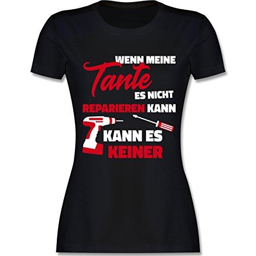 Schwester & Tante - Wenn Meine Tante ES Nicht Reparieren Kann - Damen T-Shirt Rundhals Schwarz