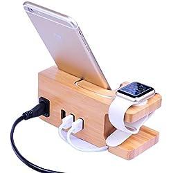 AICase Bois de Bambou USB Station de Recharge, Support de Bureau Chargeur, 3 Ports USB 3.0 Hub, pour iPhone 7/7plus/6S/6/Plus/5S &Apple Watch, Samsung et la Plupart des Smartphones Bamboo Wood