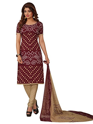 PShopee Women's Synthetic Unstiched semi Patiala Dress Brown Maroon Cream Color in...