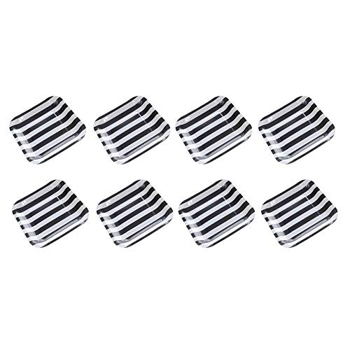 aloiness Streifen Pappteller 18.5CM Edel-Dekorativ Partygeschirr Stabiles Einweggeschirr für Grillfeste oder Geburtstage Splitterfreie Verwendung Kinder Basteln Pappteller 8 Stück(Schwarz) -