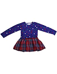 Nova à manches longues en jersey pour fille avec imprimé à carreaux et jupe - 100%  coton violet/rouge