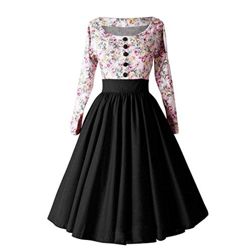 NPRADLA Lange Rockabilly Kleider Damen High-Waist Vintage Retro Langarm Blumen Hepburn Knopf Plissee Midi Kleid