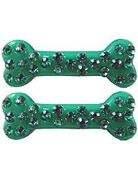 Kreepsville Gothic Haarklammer Set Knochen Strasssteine grün