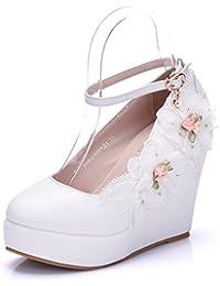 Cabeza redonda pendientes con flores de encaje zapatos zapatos de boda waterproof Taiwán pendientes con cabeza...