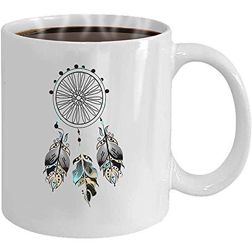 Regalo De Cumpleaños Taza Blanca De Café/Té De 11 Oz (Dos Lados) Atrapasueños Cuentas De Plumas Decoradas Dibujadas A Mano