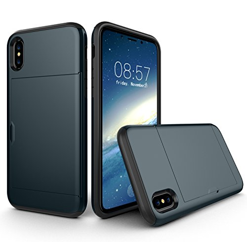 Funda iPhone X con la cartera tarjetas SKYEE Case Cover Desmontable bumper Carcasa iPhone 10 Silicona TPU Gel + PC Doble protección para caídas y rasguños para Apple iPhone X de 5.8 pulgadas 2017 Azul Profundo