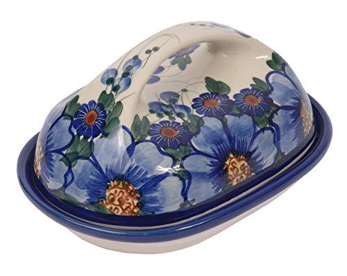 Ceramika Beata Wozniak Poterie Polonaise Traditionnelle, Beurrier en céramique Fait et décoré a la Main dans Le Style de Boleslawiec, L18cm, B.201 (Passion Collection)