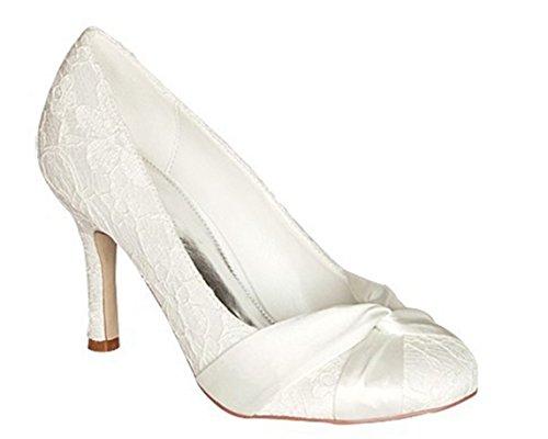 en Modische Hochzeitsschuhe , Beige - Elfenbein - Größe: 37 (Girls Elfenbein Satin Schuhe)