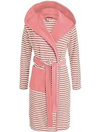 ESPRIT Bademantel Striped Dusty Pink mit Kapuze Streifen Größe: L