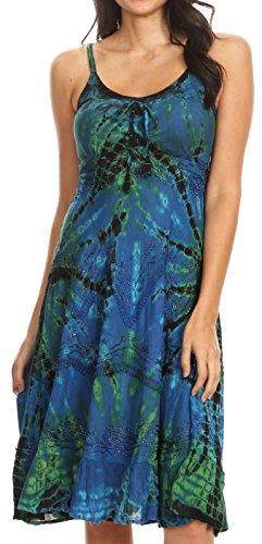 Frauen Summer Bohemian Spaghetti Strap Kurzen Kleid Tie Dye Bestickt - Blau - S/M ()