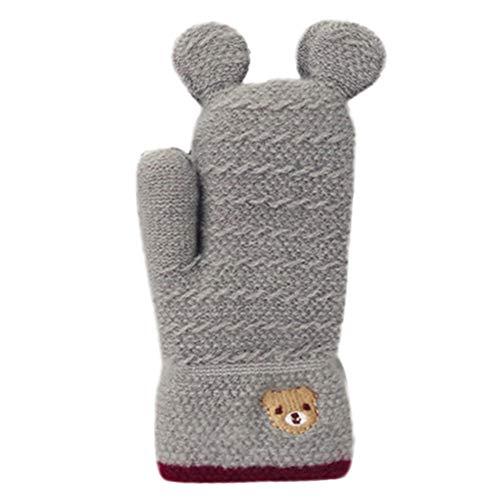 Preisvergleich Produktbild sunnymi Baby Niedlich Weihnachten Handschuhe Verdicken Nähen Winter Warme Straps (Bär Grau)