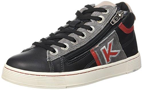 Kickers Poolover, Sneakers Hautes Garçons, Noir (Noir/Gris/Rouge), 36 EU