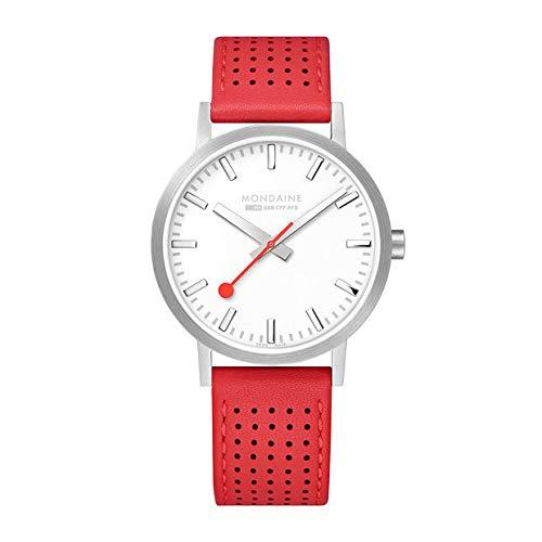 Cinturino in pelle rossa quadrante bianco classico da uomo Mondaine 40mm Ferrovie svizzere con orologio A660.30360.16SBC