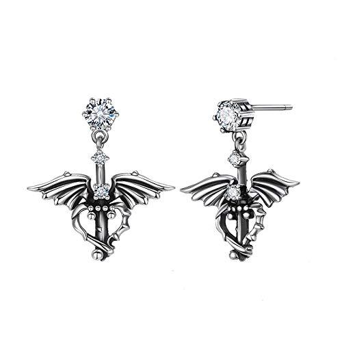 LOJBFD S925 Silber Nadel kreative Fledermaus Flügel Ohrringe Damen Modeschmuck -