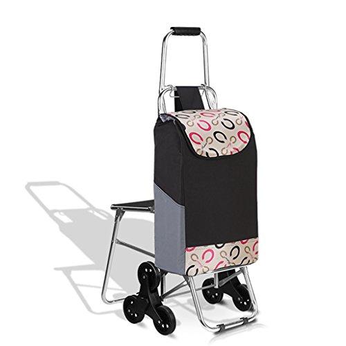Einkaufstrolleys Leichte Aluminiumlegierung Treppensteigen Klappbarer Einkaufswagen | Reisekarren-Einkaufswagen 6 PU-Rad zusammenklappbarer Stoß, Zugkarren mit Seat-Oxford-Tuch