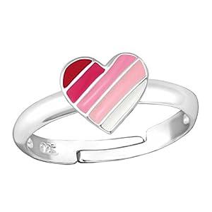 FIVE-D Damen- und Mädchenring Fingerring buntes Herz Grösse einstellbar aus 925 Sterling Silber im Schmucketui