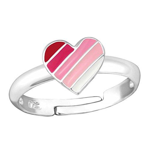 SL-Silver Mädchen Damen Ring gestreiftes Herz Grösse einstellbar 925 Sterling Silber in Geschenkverpackung (Großes Herz-ring)