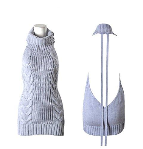 OAMORE Sexy Open Back Damen Pullover ärmellose Rückenfrei Turtleneck Backless Jumpsuit Strickpullover (L)